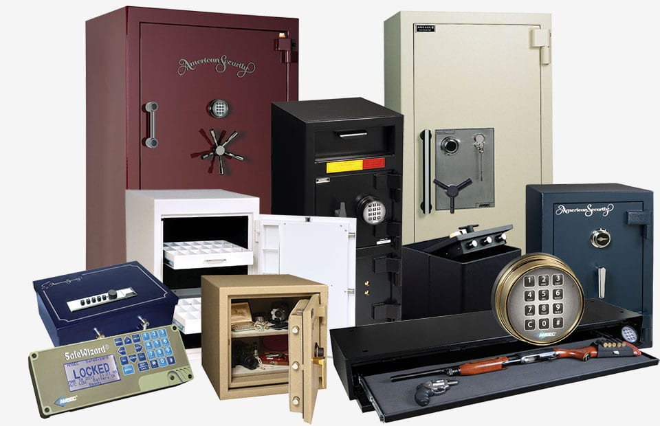 Commercial safes of various sizes and functions.