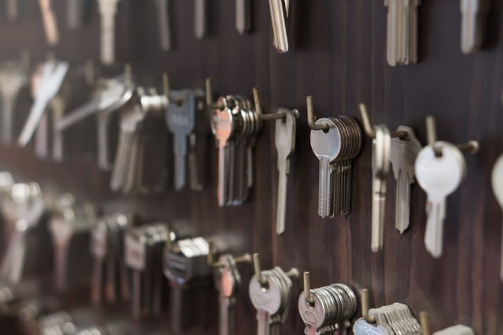 Locksmith door keys of different sizes, types, and functions