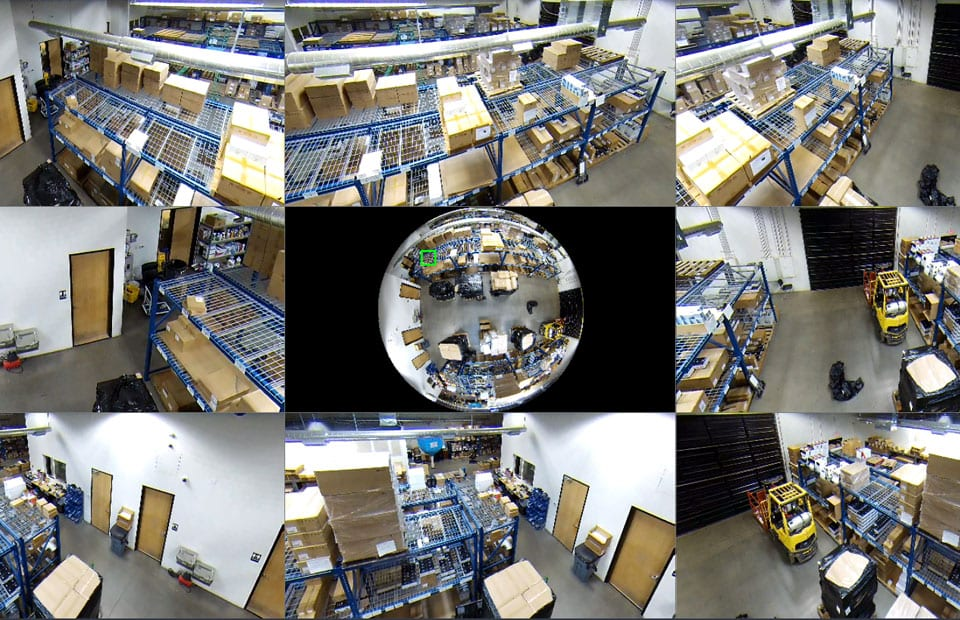 CCTV System shows multiple warehouse angles simultaneously