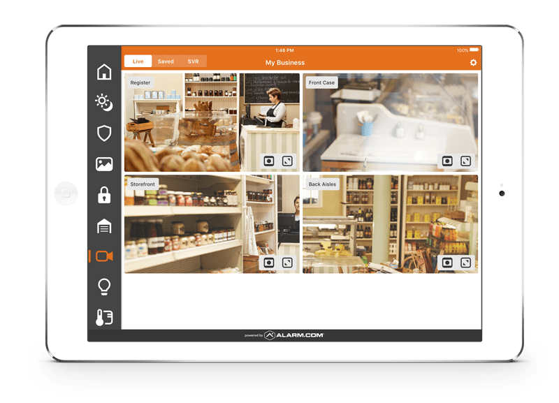 iPad showing different views of a cheese shop with a CCTV system