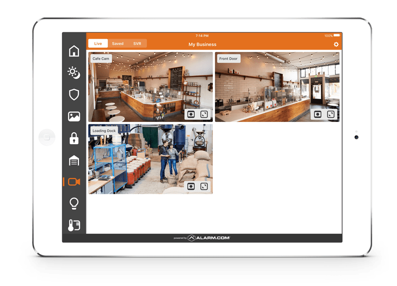 iPad showing different views of a coffee shop with a CCTV system