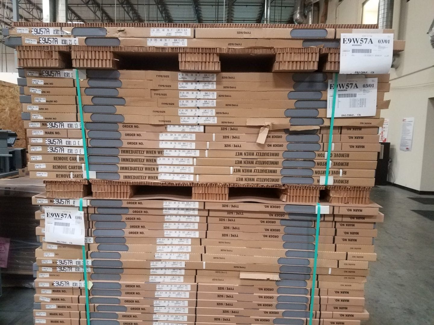 Stack of Doors in a Warehouse