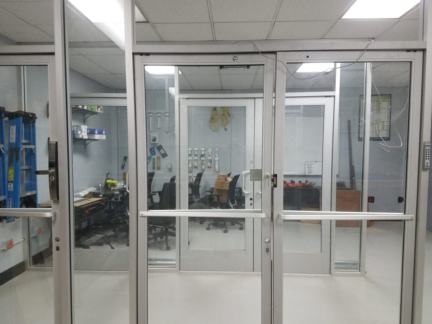 Large Glass Foyer with Multiple Doors